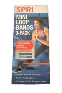 SPRI Mini LOOP BAND 3 Pack Includes Light-Medium-Heavy Resistances.  New In Box