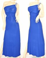 ABITO LUNGO donna strass vestito BLU da sera MONOSPALLA cerimonia elegante 60X