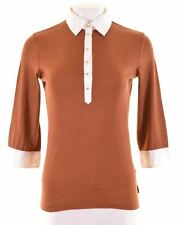 MARINA YACHTING Womens Polo Shirt 3/4 Sleeve Size 12 Medium Brown Cotton  BD04