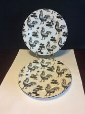Rare. Aux Au Provence Black & White Rooster Transfer Ware Salad Plate Lot Of 2