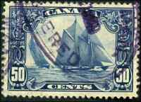 Canada #158 used VF 1929 Scroll Issue 50c dark blue Bluenose PURPLE REGISTERED