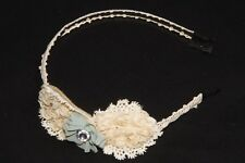 Beautifully Made Women Girly Metal Headband w Beige Knitted Floral Cover (S153)