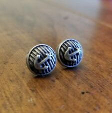 Antique-Tone Metal Small Pierced Round Anchor EARRINGS Nautical Stripped Sailing