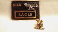 NRA VINTAGE EAGLE BELT BUCKLE # 00457 w/1993 GOLDEN EAGLE HAT PIN