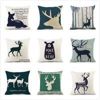 Christmas Deer Pillow Case Home Decor Cotton Linen Throw Waist Cushion Cover