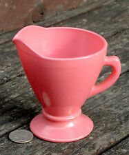 OVIDE flamingo PINK PLATONITE glass CREAM PITCHER CREAMER Hazel Atlas U.S.A.