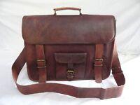 New Men's Genuine Vintage Squre Leather Messenger Bag Shoulder Laptop Briefcase.