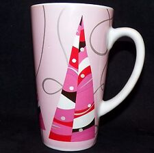 2004 Starbucks Tall Pink Silver Holiday Grande 16oz Christmas Tree Latte Mug