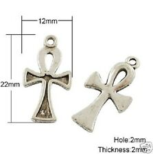 10 x tibetano in ARGENTO ANKH CROCE PENDENTE CHARMS gotico wicca pagane