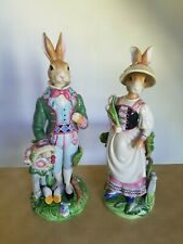 Fitz And Floyd Old World Rabbits Full Size Pair - Original Condition