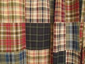 Nautica Shower Curtain Colorful Cotton Madras Plaid Patchwork Lined Cabin Rustic
