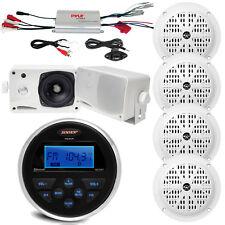 6 Marine White Speakers, Marine Amplifier, Jensen Bluetooth USB AUX Marine Radio