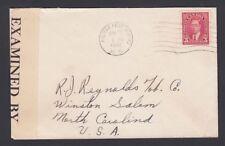 CANADA 1942-43 WW II TWO CENSORED COVERS NOVA SCOTIA TO NY & NORTH CAROLINA USA