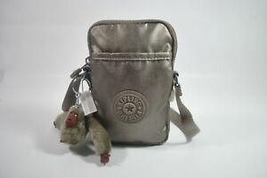 New With Tag Kipling TALLY Mini Crossbody Phone Bag KI0272- Metallic Pewter Croc