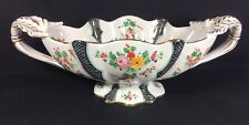 Deruta Italian Hand Painted Floral Band Scalloped Centerpiece Footed Fruit Bowl