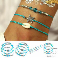 Beads Ankle Chain Foot Anklet Bracelet 3pcs/Set Women Jewelry Crystal Starfish t