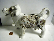 """NICE VTG 7.5"""" COW CREAMER BY STAFFORDSHIRE ENGLAND BROWN FLORAL POTTERY"""