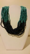 Gorgeous designer chunky blue multi color beaded necklace