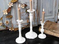 Chic Antique Kerzenleuchter Kerzenhalter Shabby Stabkerze weiß Metall Nostalgie