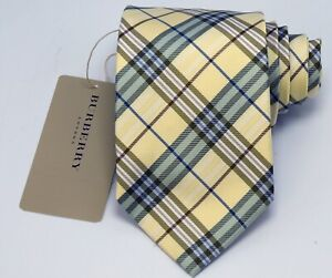 """NEW Burberry YELLOW PLAIDS Mans 100% Silk Tie Authentic Italy Made 3.5"""" 0350208"""