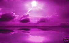 """LARGE CANVAS PURPLE ARTWORK ABSTRACT SEASCAPE 34"""" X 20"""""""