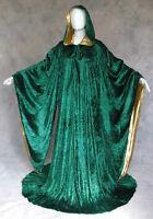 Green Velvet Robe Wizard Witch Cloak Wicca LARP LOTR Mardi Gras Cosplay Costume