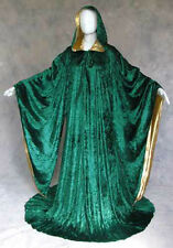 Green Velvet Robe Wizard Witch Cloak Wicca Larp Lotr Mardi Gras Cosplay Costume
