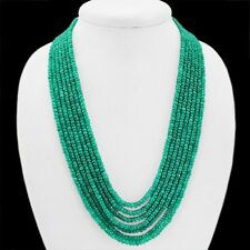 QUALITY 730 CTS NATURAL 7 LINE GENUINE EMERALD FACETED BEADS NECKLACE - GEM EDH