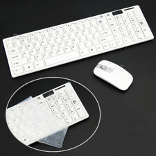 White 2.4 GHz Cordless Wireless Keyboard and Optical Mouse USB Receiver Set