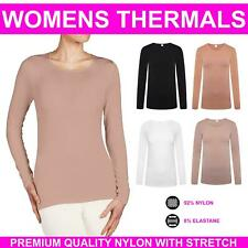 Womens Long Sleeve Thermal Top New Warm Scoop Neck Ladies Stretch Winter Warmer