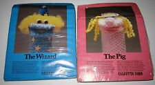 VINTAGE MACRAME CRAFT KIT to make a PIG $ WIZARD HAND PUPPET with Calcutta Cord
