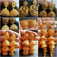22K Gold Plated Full Ear Earrings Jhumka Variation Different Style Wedding Set