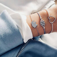 3 Pcs/Set Women Hand Chain Bracelet Alloy Elephant Heart Adjustable Bangle Chain