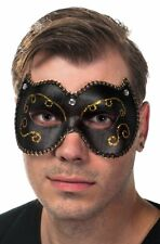 Vinyl Masquerade Mask In Black And Gold Genuine Smiffys - New