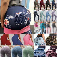 Women Yoga Pants High Waisted Floral Sport Gym Leggings Running Fitness Trousers