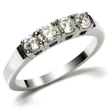 PLATINUM/STEEL ALLOY 1 CARAT GLEAMING SIMULATED MOISSANITE WEDDING RING SIZE 9