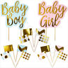 Gold Foil Boy Girl Baby Shower Cake Cupcake Toppers Food Picks Party Decoration