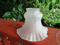 White Frosted Glass Vintage Ruffled Tulip Light Shade Chandelier Sconce Globe