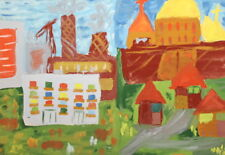 Vintage Gouache Painting Fauvist Cityscape Sign.