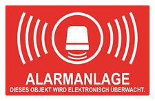 5x Alarm gesichert, Alarmanlage, Überwacht Aufkleber 8x5 cm, Rot/ Weiß