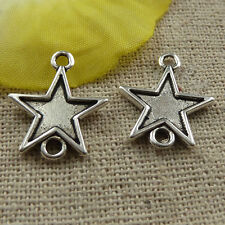 free ship 220 pieces tibetan silver star connector 19x16mm #3923