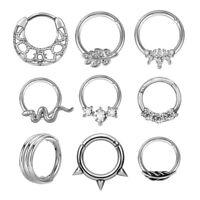 Stainless Steel Nose Ring Crystal Septum Clicker Hinge Segment Helix Tragus Hoop