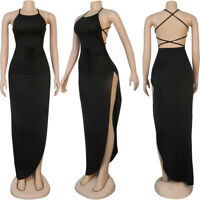 Women Long Dress Maxi Cross Strap Sleeveless Backless High Slit Party Bodycon