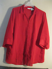 White Stag XL 2 Piece Set Blouse New Red Long Length  GORGEOUS SHADE OF RED!!