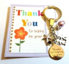 Thank you for helping me Grow Teacher Gift at End of Term Key Ring On Gift card