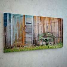 Wall Art Glass Print Canvas New Picture Large Vintage Bike Shed p441 100x50cm