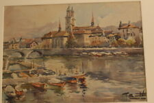 Ricardo Sacristan Arrieta (1921 to 1981) Watercolour Port Spanish fisheries