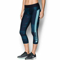 Under Armour UA HeatGear Ladies Capri Graphic Print Blue Sports Running Leggings