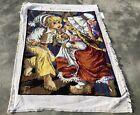 Vintage France / European Tapestry Needlepoint Rug / Mat 1.5 x 1.1 Ft (3974 KBN)