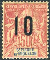 French Colonies 1912 St Pierre Miquelon P & C 10¢/50¢ Wide OP SG 104B N595